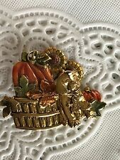 Pumpkin Basket Dog Leaves Sunflowers Enamel Gold Tone Brooch Pin By KC