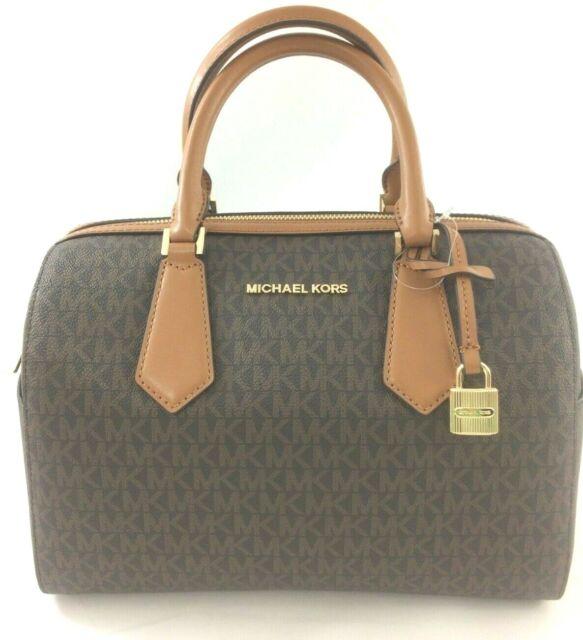 04fc695d60f5fa New Authentic Michael Kors Hayes Large Duffle Satchel Handbag Purse Brown /Acorn
