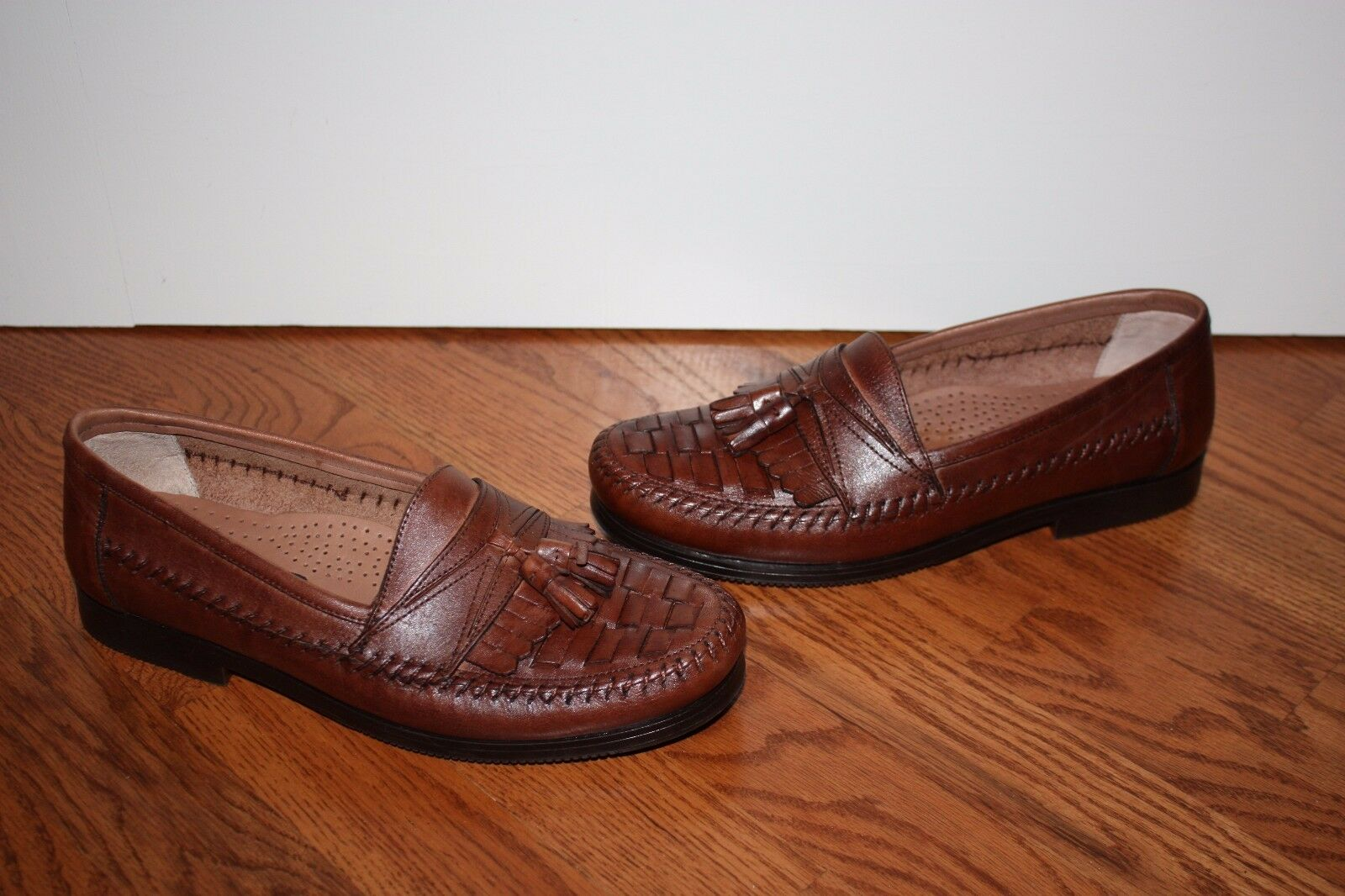 Uomo Giorgio Brutini Brown Leather Weave Tassel Loafers Shoes Size 8 D
