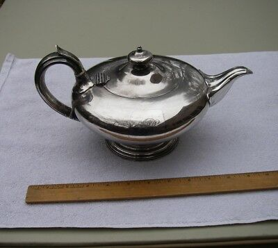 Good 1820s Old Sheffield Plate Teapot-lamp Form-inset Monogram-nr Selected Material Silver