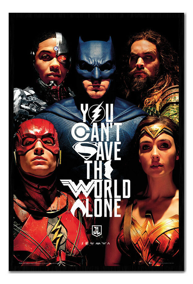 Justice League Faces Poster Framed Cork Pin Notice Board With Pins