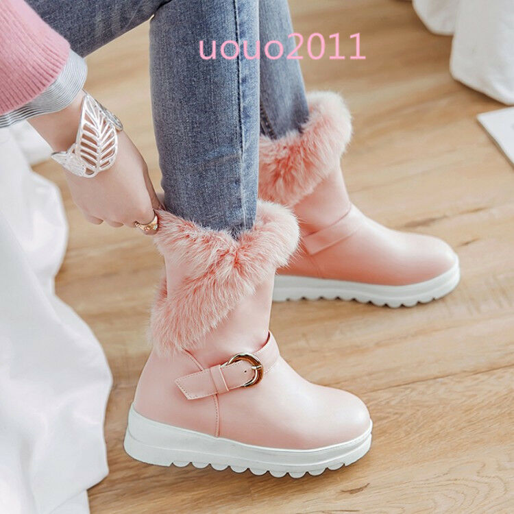 femmes Fur Lining Furry Buckle Mid Calf bottes Winter Warm Snow bottes Vogue chaussures