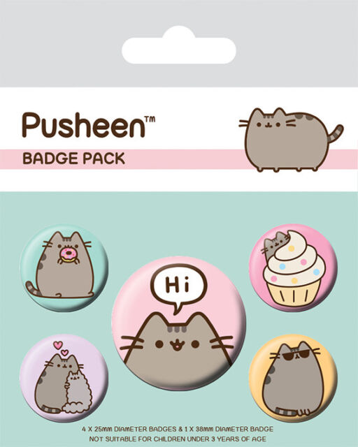 Pusheen (Pusheen Says Hi) 5 Badge Pack * OFFICIALLY LICENSED PRODUCT **