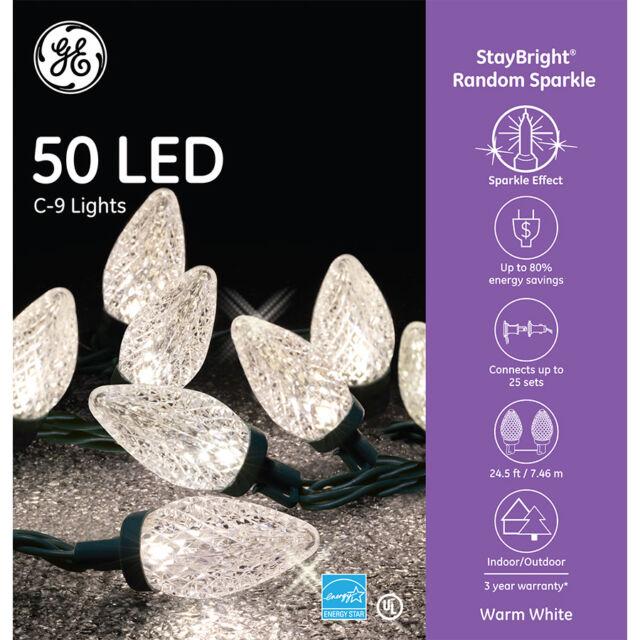 Open Box 2 Pack Home Heritage 25/' 50 Bulb C9 White Christmas LED Lights