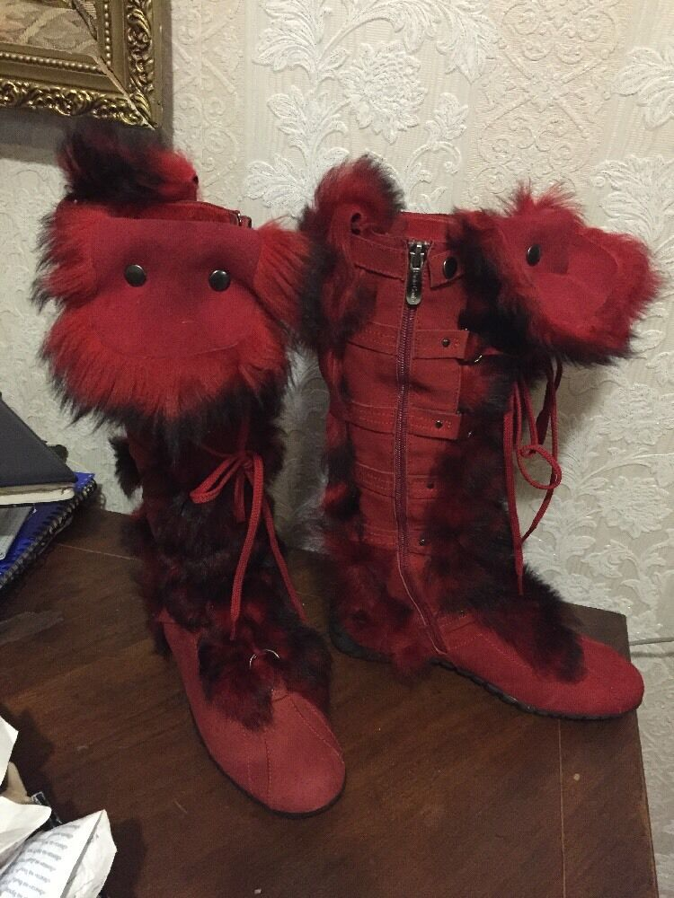 Paolo Conte Genuine Shearling Suede Fashion Boots Warm Red Sz 36 Running For 6.5