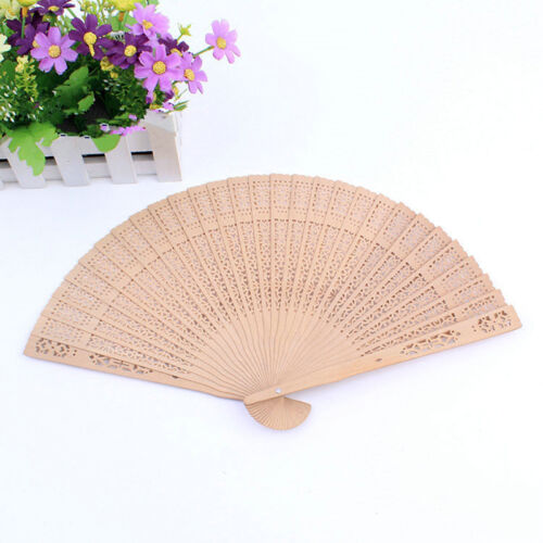 Chinese Folding Fragrant Sandalwood Hand Fan Bamboo Wedding Party Gift