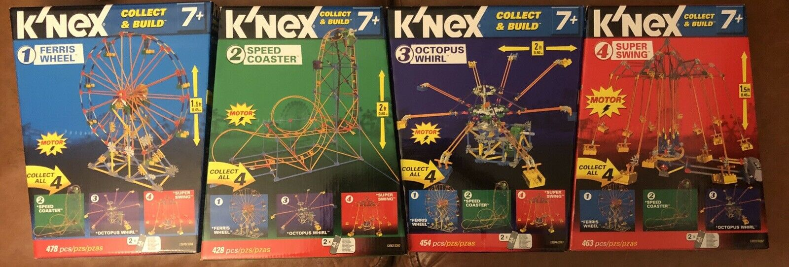 K'nex Amusement Park Complete Set 4 PCS BRAND NEW    ITEM 12085A
