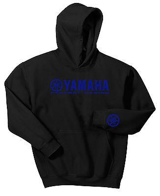 YAMAHA FACTORY RACING HOODIE SWEAT SHIRT BLACK BLUE YZF R1 R6 YFZ BANSHEE