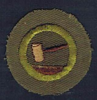 Public Speaking Crimped Merit Badge 1947-1960 Type E Cotton Wht Bk St 700135