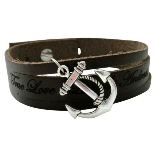Bracelet en cuir bracelet 1,7cm fendu avec remorque et gravure//souhait Gravure