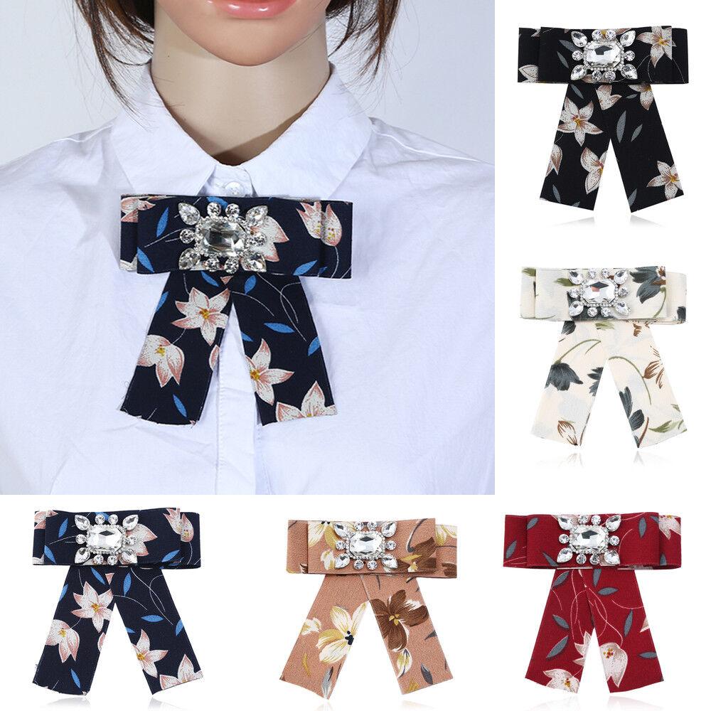 Women Fashion Rhinestone Flower Decor Bow Tie Party Banquet Adjustable Necktie