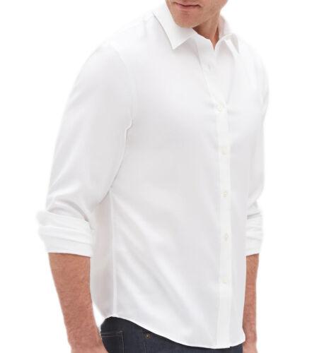 Size L Banana Republic Mens Slim-Fit Untucked Non-Iron Shirt 3386-8 White