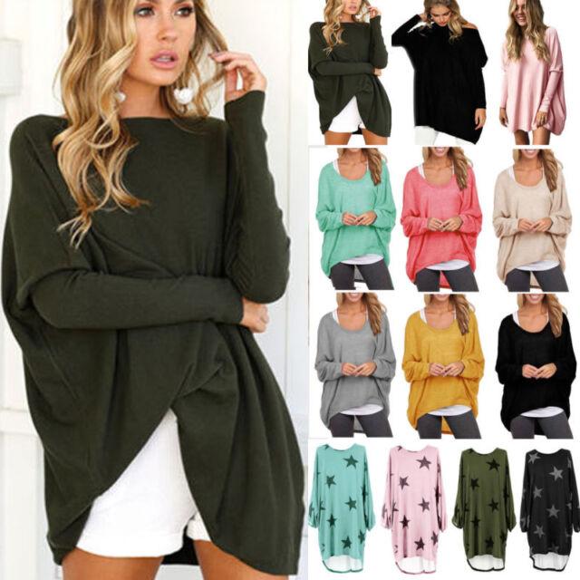 Womens Ladies High Low Dip Fluffy Warm Baggy Oversized Shirt Jumper Dress Top