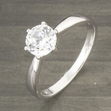 Flawless 18K White Gold Filled Solitaire Zirconia Cubic Stone Wedding Ring 8