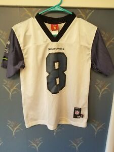 Seattle-Seahawks-Matt-Hasselbeck-8-Men-039-s-Football-Jersey-Youth-Med-M-NFL-White