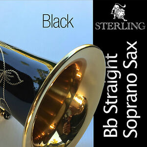 Black-Straight-Soprano-Sax-STERLING-Bb-Saxophone-With-Case-and-Accessories