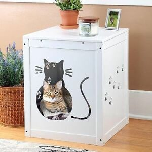 Image Is Loading Cat Kitty Litter Box Hide Away End Table