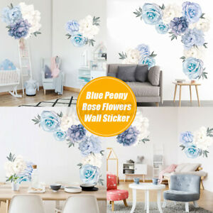 Blue-Peony-Rose-Flowers-Wall-Sticker-Vintage-Mural-Room-Home-Art-Flora