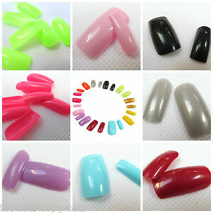 100x-LONG-FULL-COVER-FALSE-TOE-FINGER-NAILS-GLUE-FILE-17-COLOURS-FREE-UK-P-P