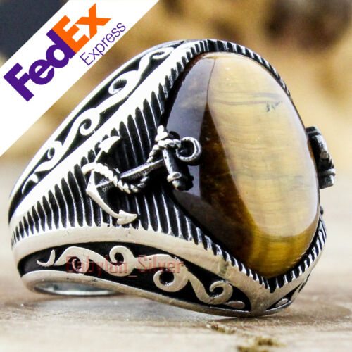 Natural Tiger/'s Eye Stone 925 Sterling Silver Turkish Handmade Men Ring All Size