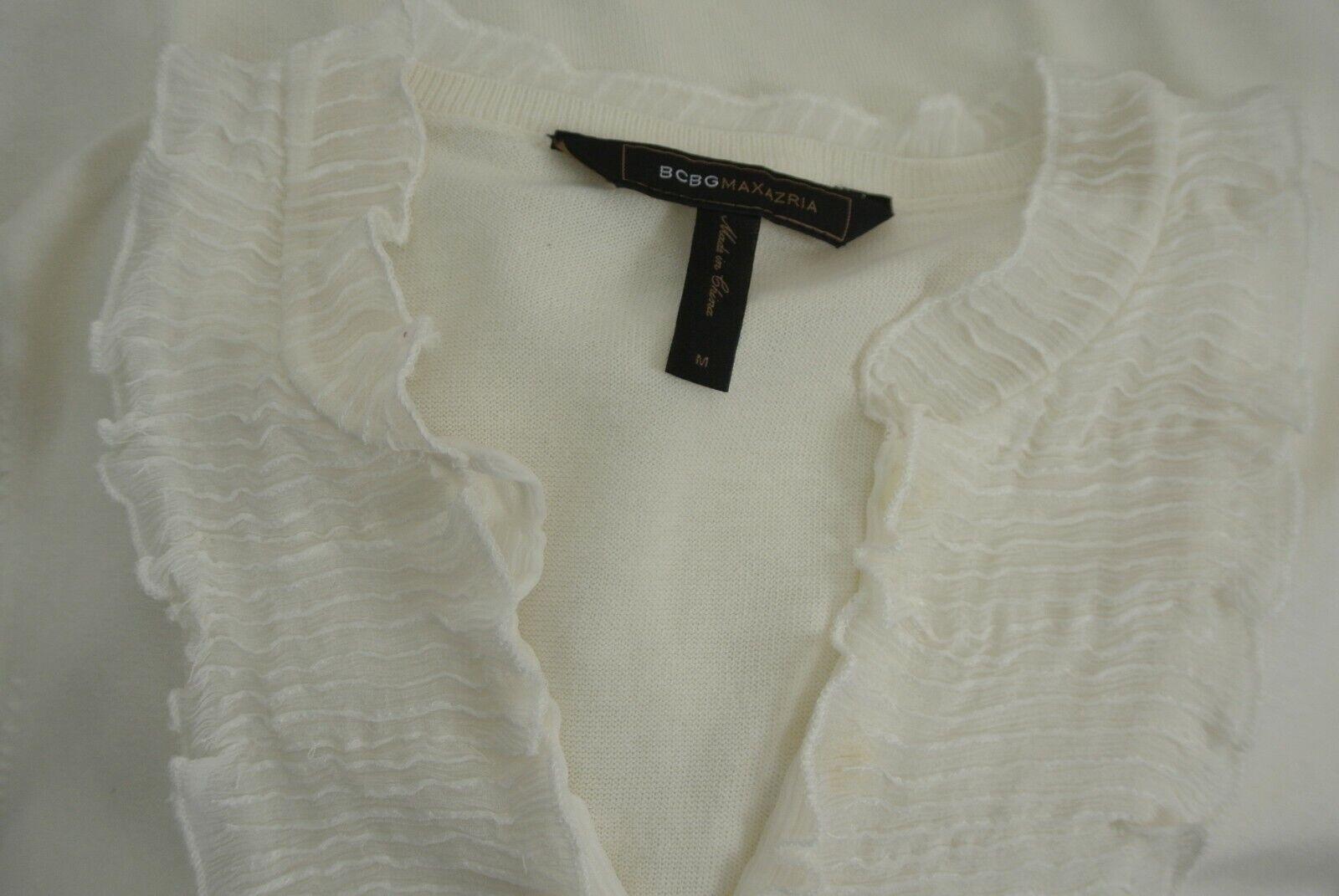 BCBG MAXAZRIA Silk/Cotton Blouse M Ivory Ruffle S… - image 6