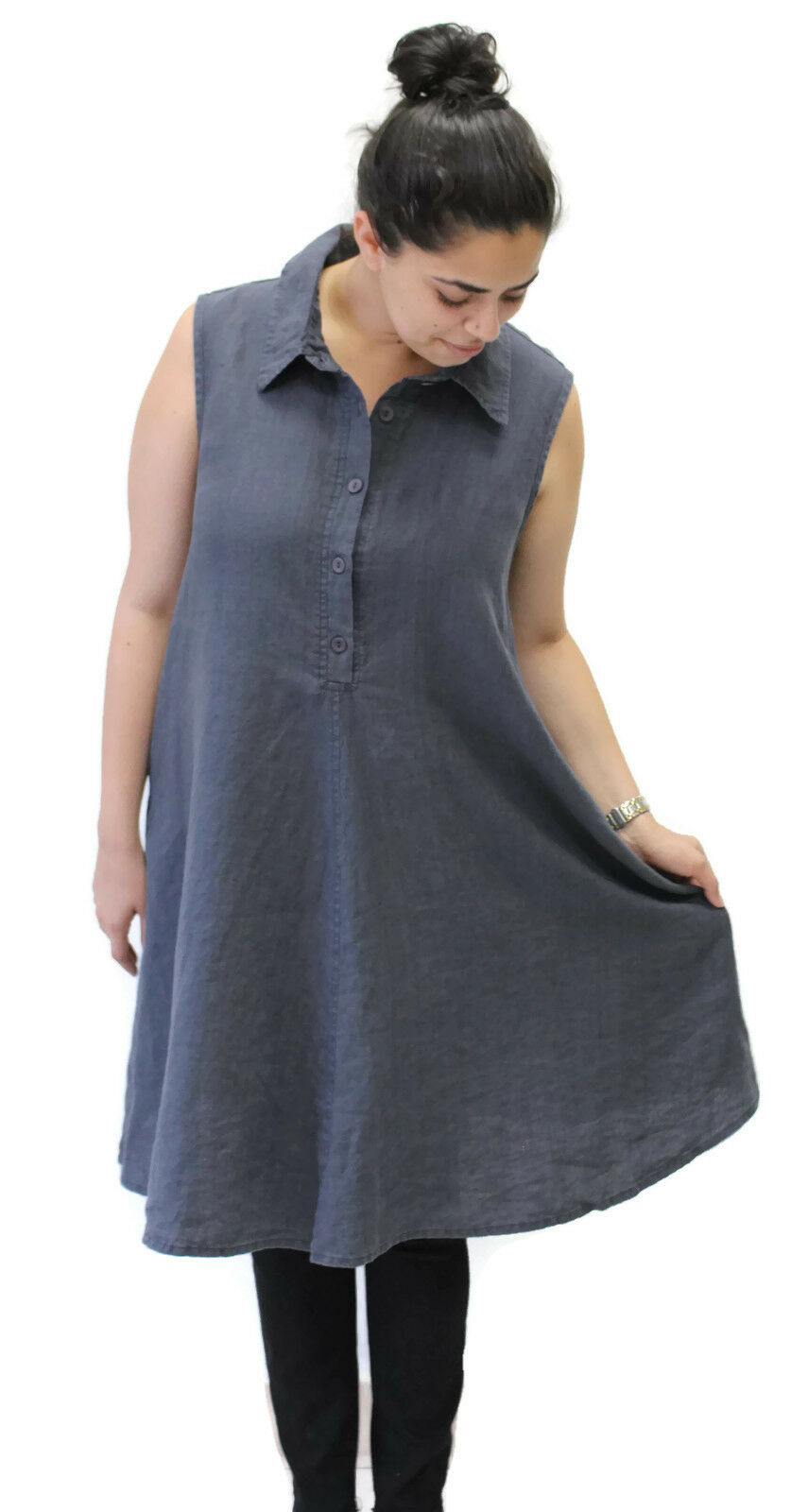 Flax Designs Linen Speakeasy Tunic Dress  NWT  Caviar Washed  Größe  Large