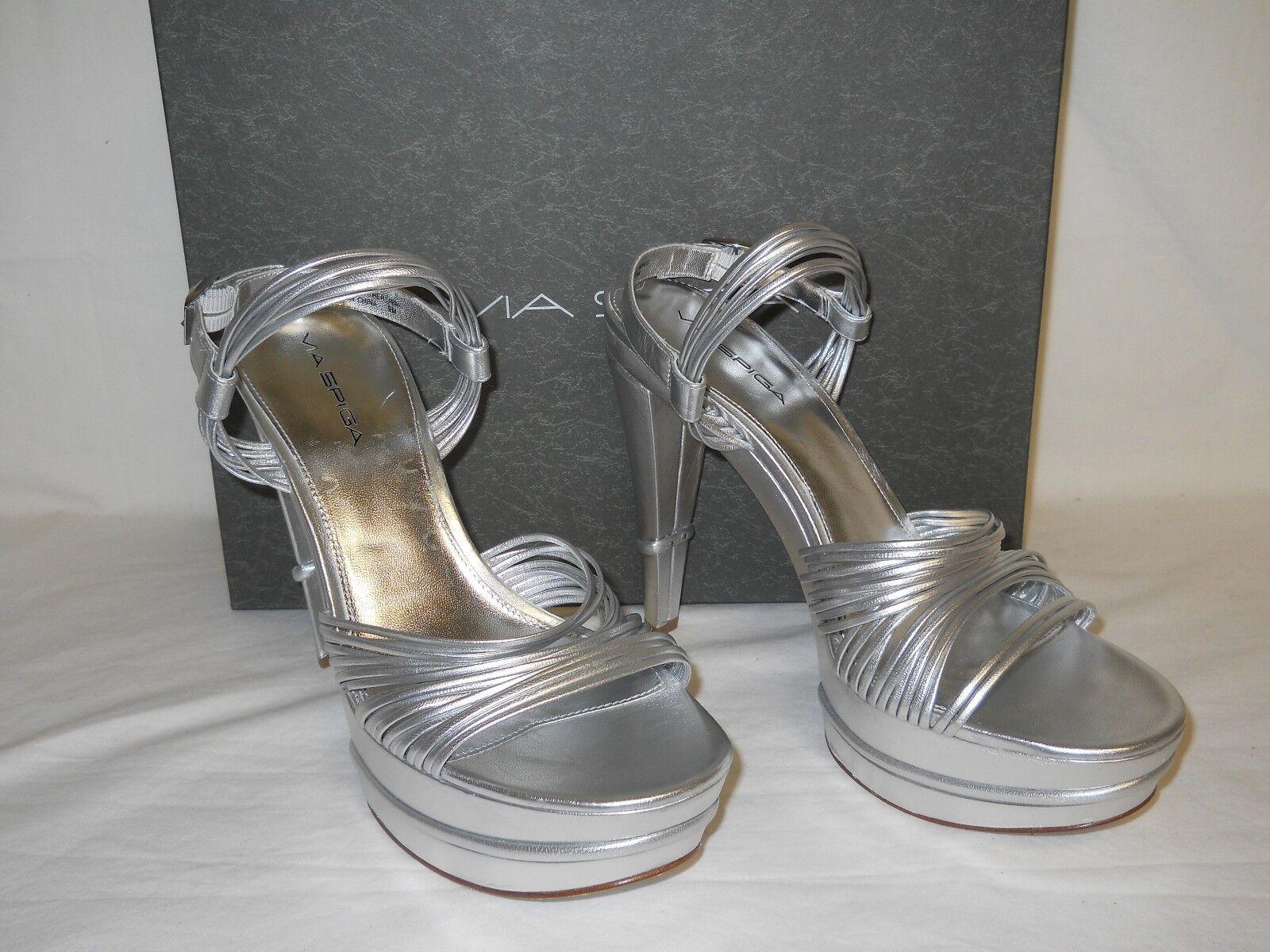 Via Spiga NEU Damenschuhe Aida Silver Leder Platform Heels 9 M Schuhes
