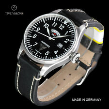 Junkers Men's 40mm Cockpit JU52 Series German Made GMT Leather Strap Watch