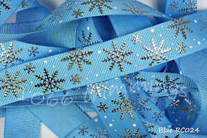 Reel-Chic-Ribbon-Collection-Frozen-Silver-Snowflakes-on-Blue-Grosgrain-22mm-Wide