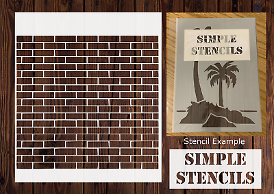 "Brick Wall  190 micron Mylar Stencil High Quality 12 x 12/"" 6 x 6 /"" 8 x 8 /"""
