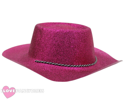 PINK GLITTER COWBOY HAT WILD WESTERN COWGIRL HEN STAG PARTY HOLIDAY FANCY DRESS
