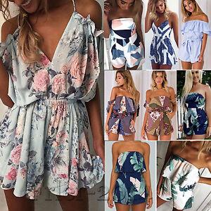 fa590b6c8384 Image is loading Women-Summer-Mini-Jumpsuit-Playsuit-Romper-Party-Beach-