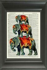 ORIGINAL - Circus Elephant Wall Art Print on Vintage Dictionary Book Page 511D