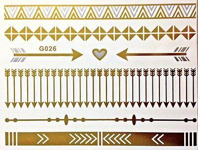 Flash Einmal Temporary Klebe Tattoo Gold Silber 8teile Armband Hals Kette G26S