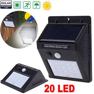 20-LED-Solar-Luz-de-Pared-Impermeable-Sensor-de-Movimiento-Lampara-Exterior