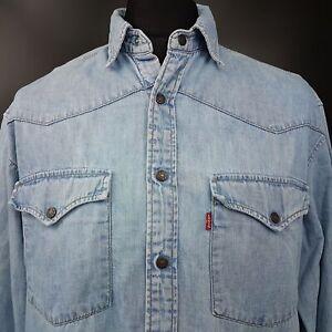 Levi-039-s-Mens-Vintage-Denim-Jean-Shirt-61624-Western-Snap-MEDIUM-Long-Sleeve-Blue
