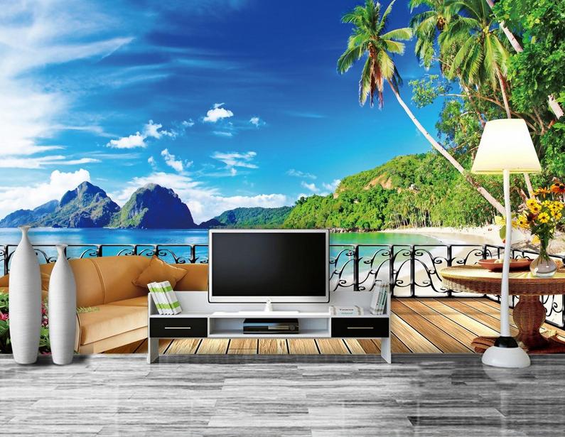 3D Sofa Balkon Natur 86 Tapete Wandgemälde Tapete Tapeten Bild Familie DE Summer