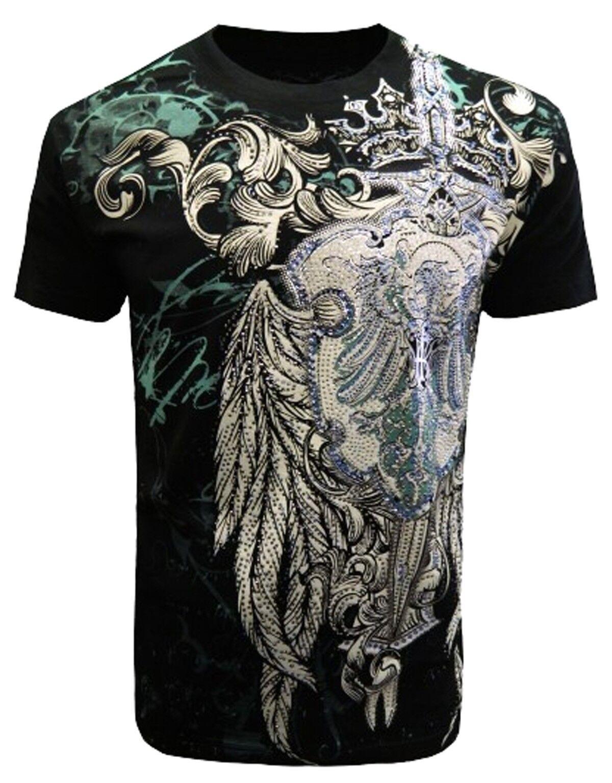 Konflic [Dagger Strass rhinestones] T-shirt Rocker Biker Shield Wings alloverpri
