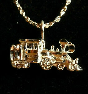 STEAM-TRAIN-Locomotive-Engine-w-Tender-Pendant-FREE-Chain-Made-in-USA