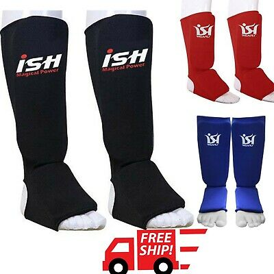 New Fast Shipping Boxing // MMA Shin Instep Guards All Black Color