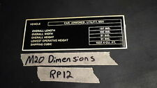 M20 Armored Car G176 WWII Dimensions Data plate  Greyhound (RP12)