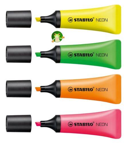 STABILO NEON soft tube fluorescent Highlighter Pens pack of 4 Colours