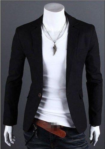 Charm Men/'s Casual Slim Fit One Button Suit Blazer Coat Jacket Tops Men Fashion
