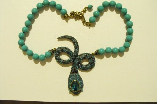 Heidi Daus Turquoise Colored Beaded Snake with La… - image 1