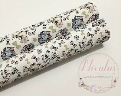 kitty cats with bows printed canvas fabric sheets A4 Hair bow making material