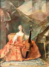 A4 Photo Nattier JM 1685 1766 33 1912 Mme Henriette with Cello Print Poster