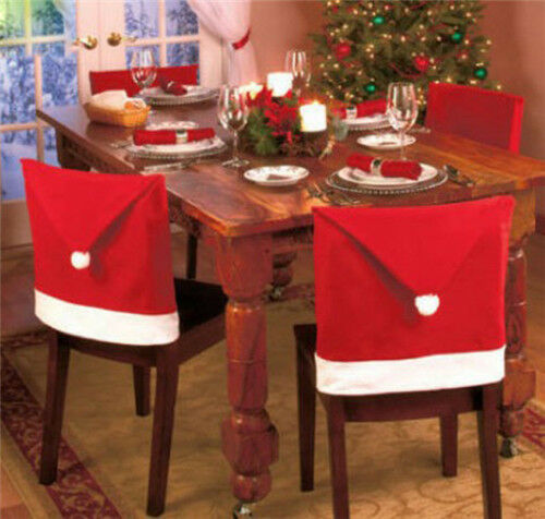 1PCS Cozy Christmas Dinner Table Decoration Santa Clause Red Hat Chair XMAS Gift