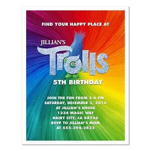 8 trolls movie custom personalized birthday party invitations ebay image is loading 8 trolls movie custom personalized birthday party invitations filmwisefo