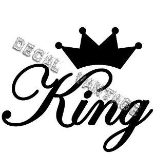 King-Script-Crown-Style-B-Vinyl-Sticker-Decal-Choose-Size-amp-Color