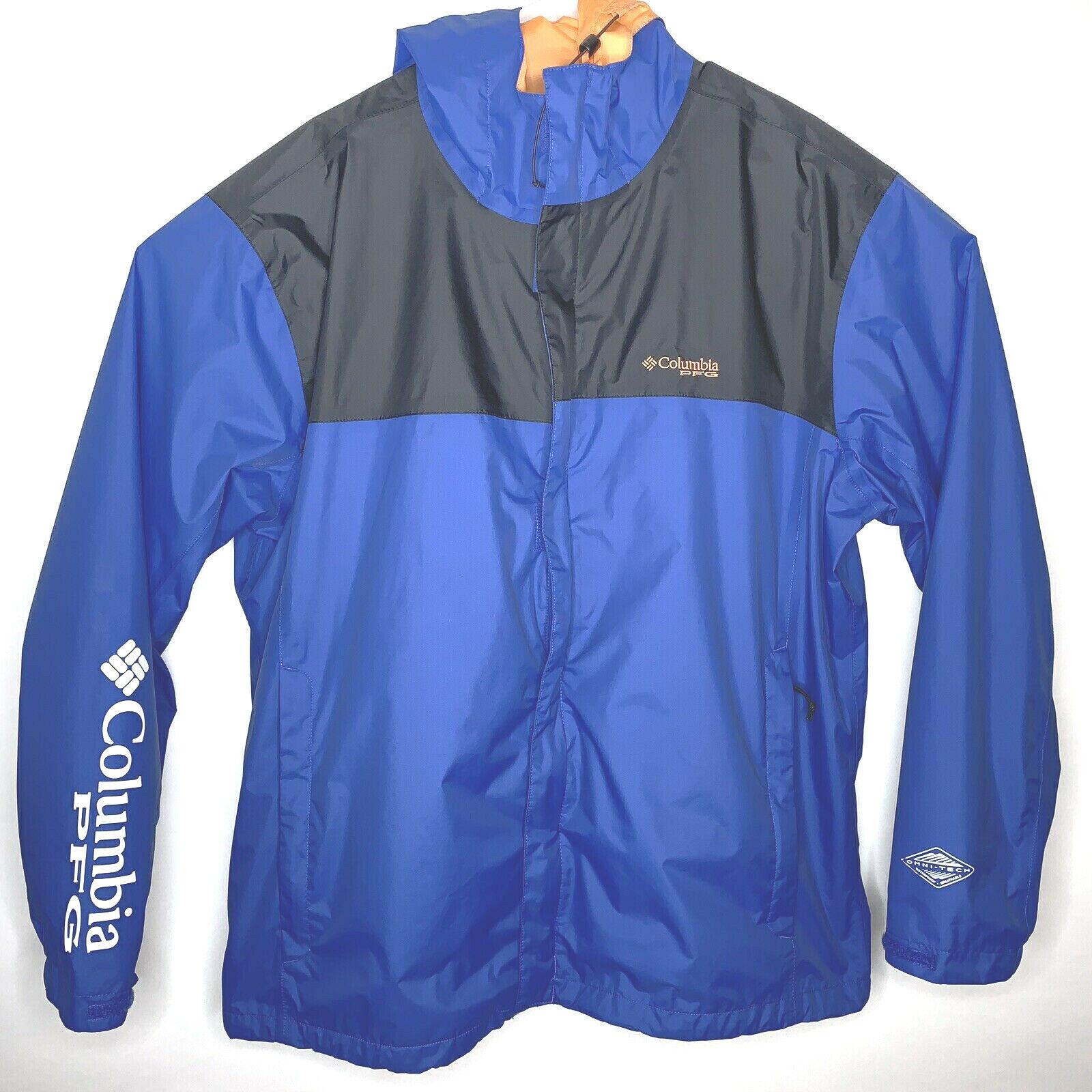 Columbia Sportswear PFG Mens XL Blau Packable Waterproof Breathable Wind Jacket
